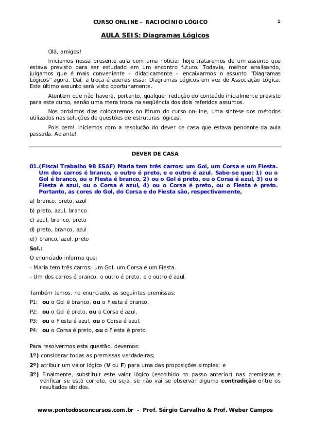 CURSO ONLINE – RACIOCÍNIO LÓGICO www.pontodosconcursos.com.br - Prof. Sérgio Carvalho & Prof. Weber Campos 1 AULA SEIS: Di...