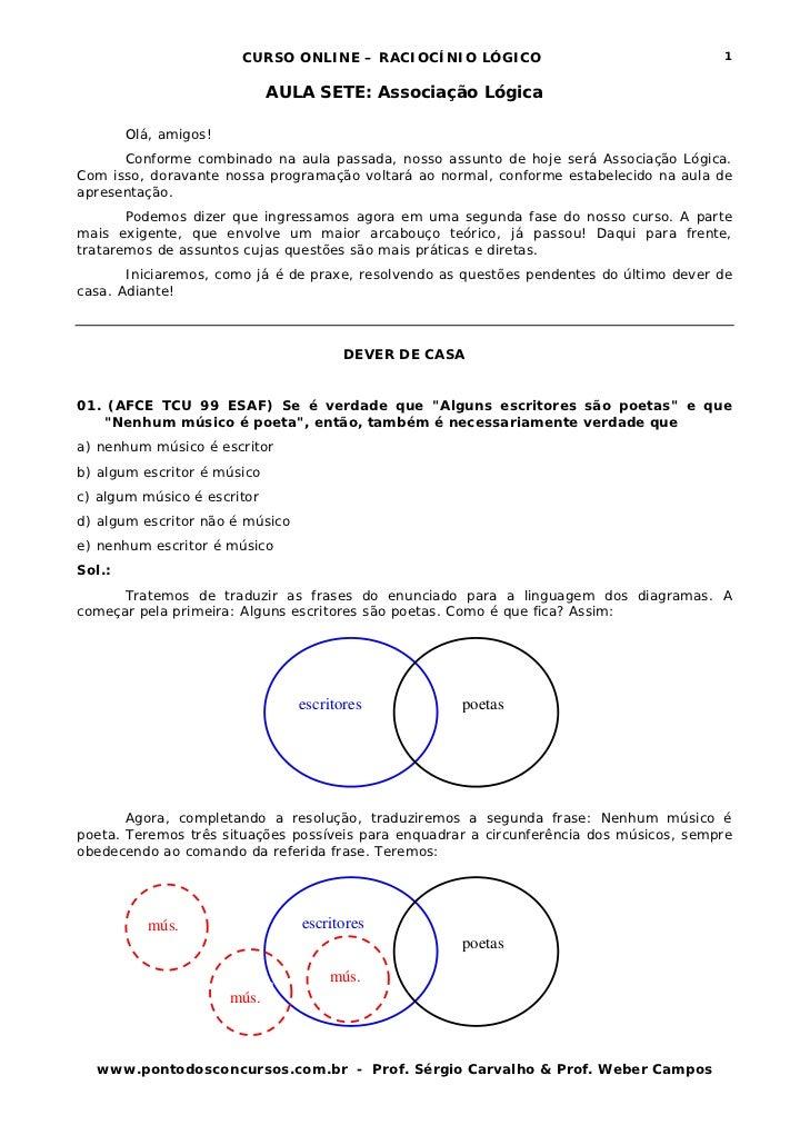 CURSO ONLINE – RACIOCÍNIO LÓGICO                                 1                              AULA SETE: Associação Lógi...