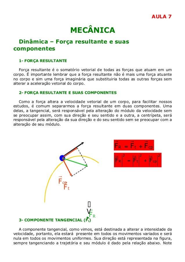AULA 7  MECÂNICA Dinâmica – Força resultante e suas componentes 1- FORÇA RESULTANTE Força resultante é o somatório vetoria...