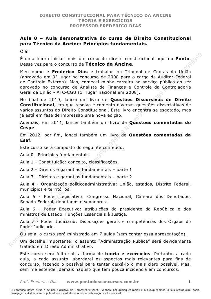 Nome99999999999                    DIREITO CONSTITUCIONAL PARA TÉCNICO DA ANCINE                                 TEORIA E ...