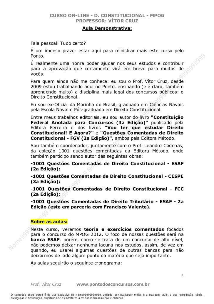 Nome99999999999                            CURSO ON-LINE - D. CONSTITUCIONAL - MPOG                                    PRO...