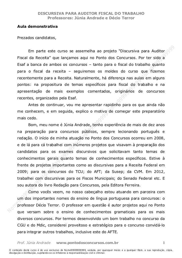 Nome99999999999                         DISCURSIVA PARA AUDITOR FISCAL DO TRABALHO                             Professores...