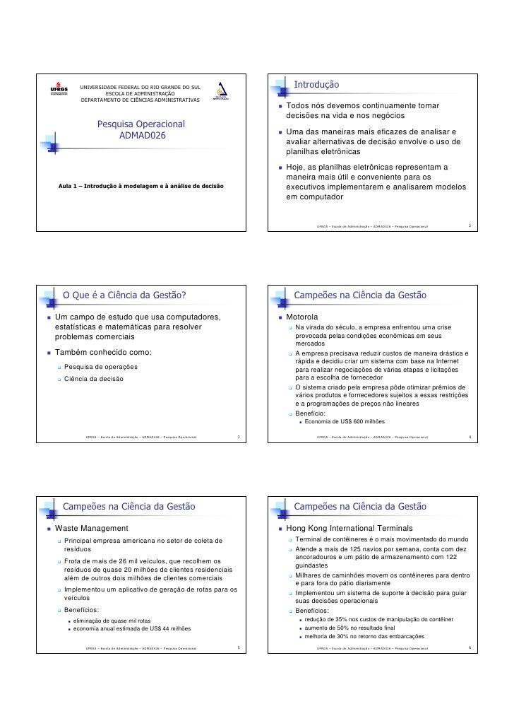 UNIVERSIDADE FEDERAL DO RIO GRANDE DO SUL                                  Introdução                 ESCOLA DE ADMINISTRA...