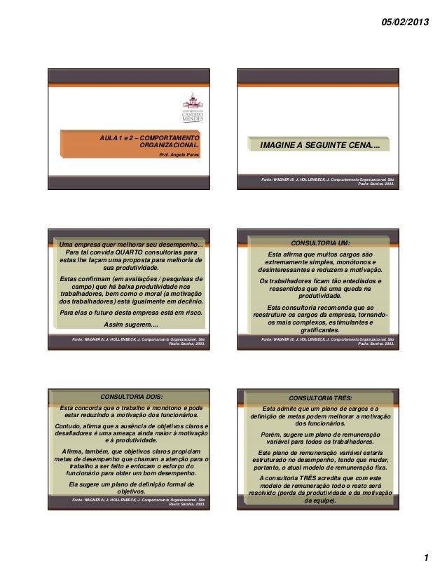 05/02/2013                   AULA 1 e 2 – COMPORTAMENTO                                ORGANIZACIONAL.                    ...
