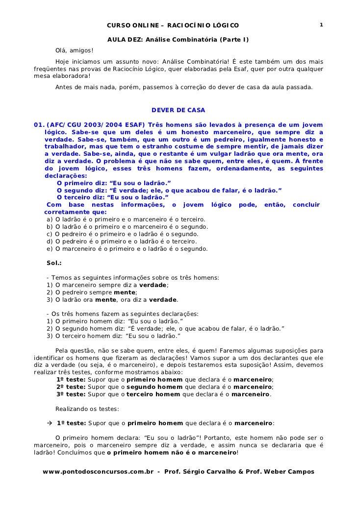 CURSO ONLINE – RACIOCÍNIO LÓGICO                                     1                       AULA DEZ: Análise Combinatóri...