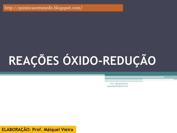 Aula 11 -  Reações de oxido-redução
