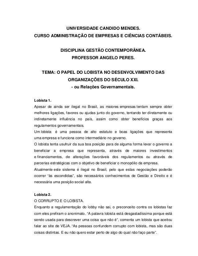 UNIVERSIDADE CANDIDO MENDES. CURSO ADMINISTRAÇÃO DE EMPRESAS E CIÊNCIAS CONTÁBEIS. DISCIPLINA GESTÃO CONTEMPORÂNEA. PROFES...