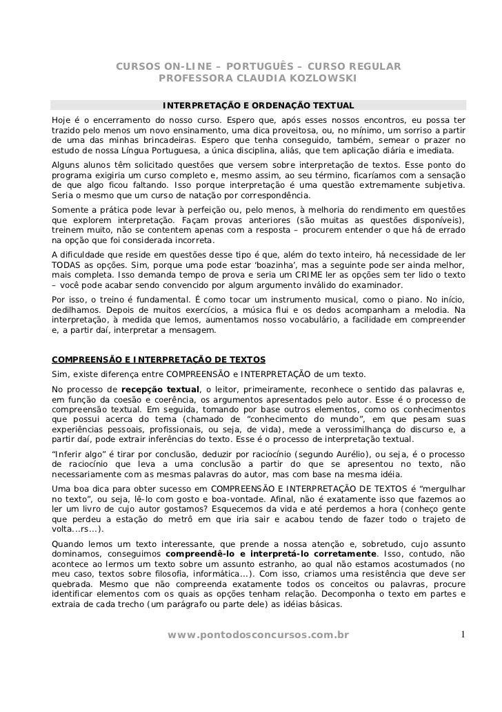 CURSOS ON-LINE – PORTUGUÊS – CURSO REGULAR                     PROFESSORA CLAUDIA KOZLOWSKI                           INTE...