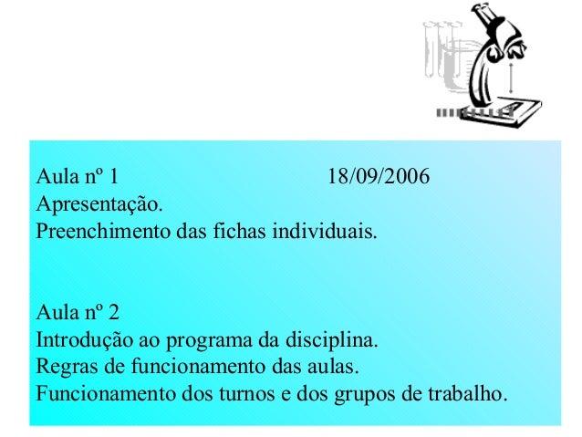 Aula nº 1 18/09/2006 Apresentação. Preenchimento das fichas individuais. Aula nº 2 Introdução ao programa da disciplina. R...