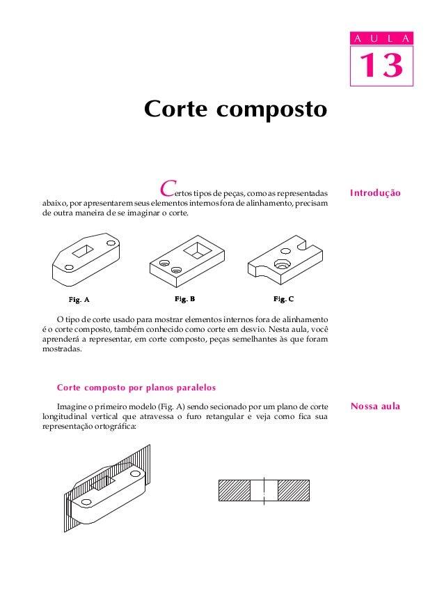 A U L A  U L A  13  Corte composto  Certos tipos de peças, como as representadas  abaixo, por apresentarem seus elementos ...