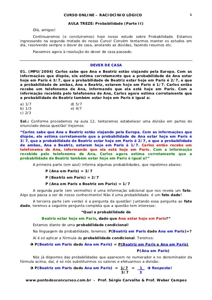 CURSO ONLINE – RACIOCÍNIO LÓGICO                                   1                           AULA TREZE: Probabilidade (...