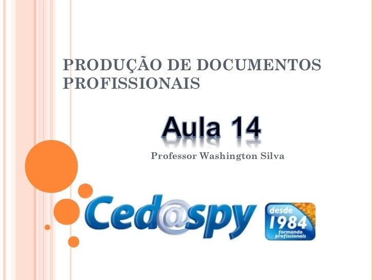 PRODUÇÃO DE DOCUMENTOSPROFISSIONAIS       Professor Washington Silva