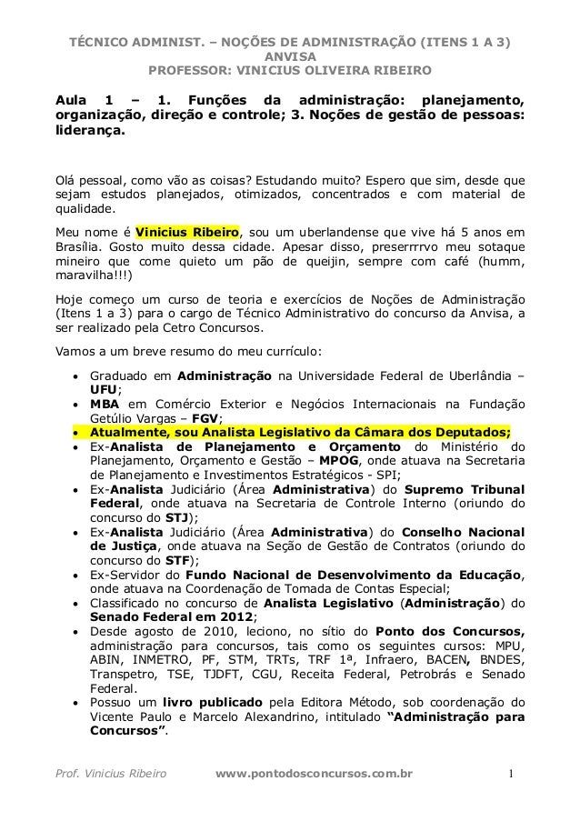 TÉCNICO ADMINIST. – NOÇÕES DE ADMINISTRAÇÃO (ITENS 1 A 3) ANVISA PROFESSOR: VINICIUS OLIVEIRA RIBEIRO Prof. Vinicius Ribei...