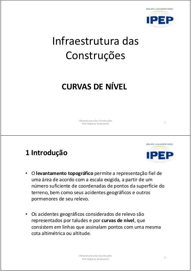 Infraestrutura das Construções CURVAS DE NÍVEL 1 Infraestrutura das Construções Prof. Roberta Vendramini 1 Introdução • O ...