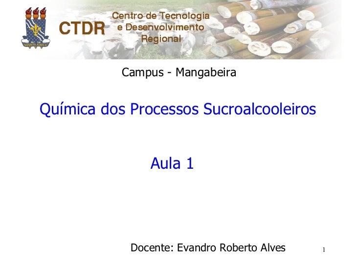 Campus - MangabeiraQuímica dos Processos Sucroalcooleiros               Aula 1            Docente: Evandro Roberto Alves   1