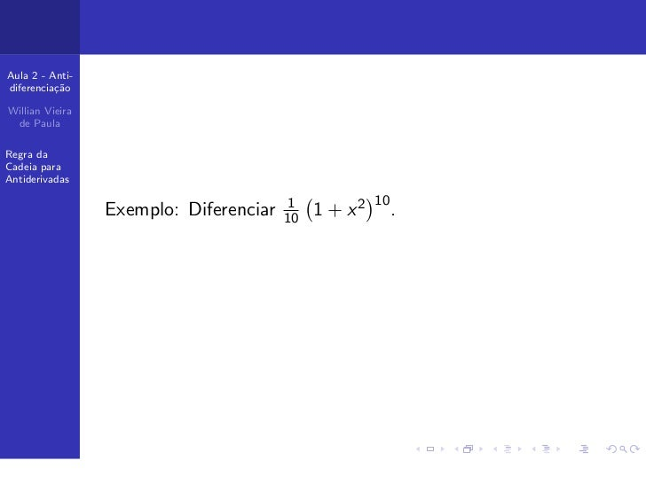 Cálculo 2: Aula 2 - Antiderivadas
