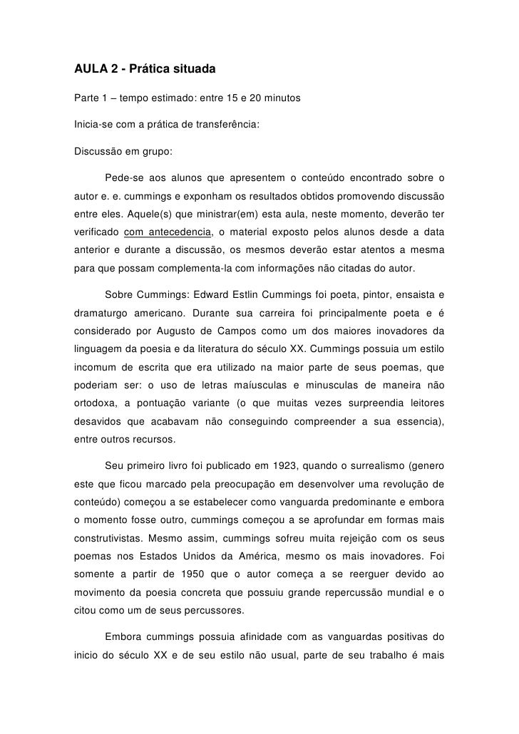 AULA 2 - Prática situadaParte 1 – tempo estimado: entre 15 e 20 minutosInicia-se com a prática de transferência:Discussão ...