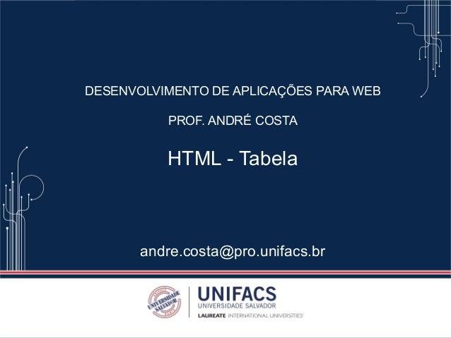 DESENVOLVIMENTO DE APLICAÇÕES PARA WEB PROF. ANDRÉ COSTA HTML - Tabela andre.costa@pro.unifacs.br