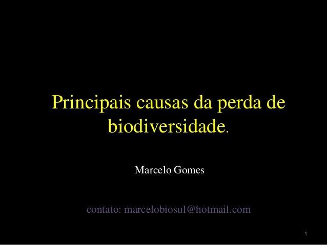 Principais causas da perda de biodiversidade. Marcelo Gomes contato: marcelobiosul@hotmail.com 1