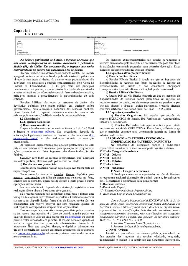 Receita pública - Administração Financeira e Orçamentária - Aula 2