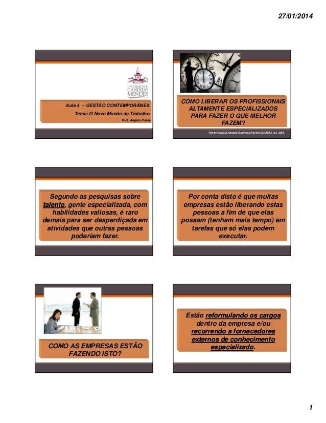 27/01/2014  Aula 4 – GESTÃO CONTEMPORÂNEA. Tema: O Novo Mundo do Trabalho. Prof. Angelo Peres  COMO LIBERAR OS PROFISSIONA...