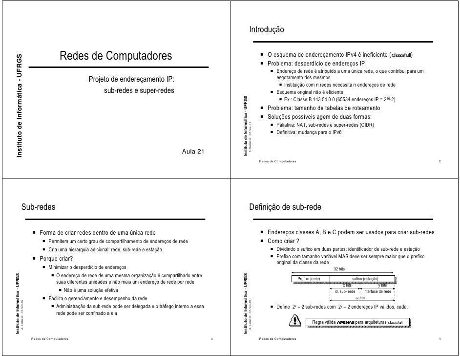 Introdução                                                                                 Redes de Computadores          ...