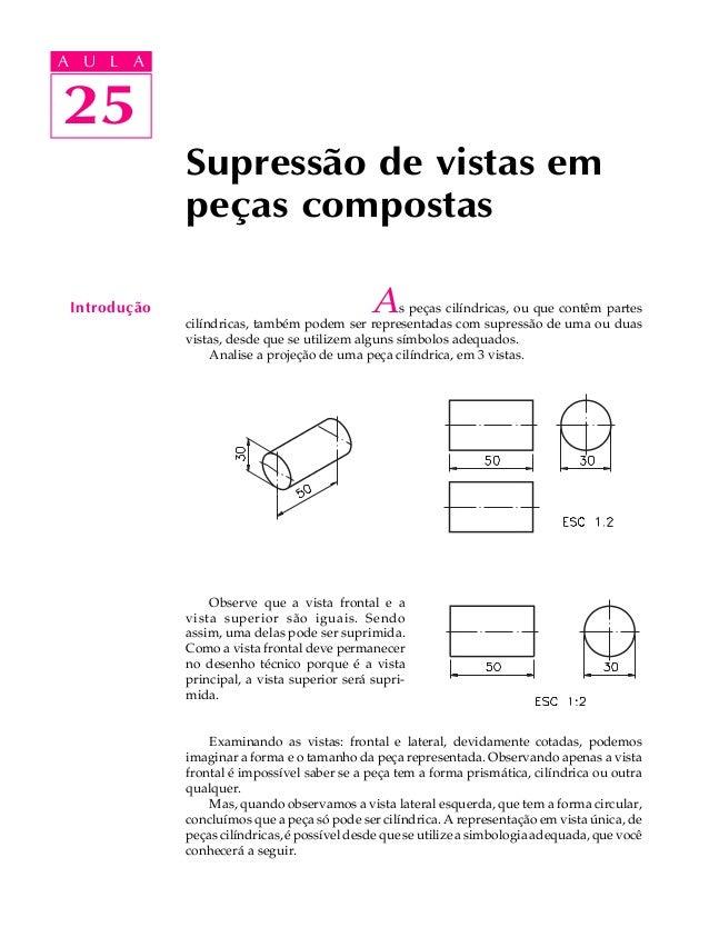 A U L A  A U L A  2255  Supressão de vistas em  peças compostas  Introdução As peças cilíndricas, ou que contêm partes  ci...