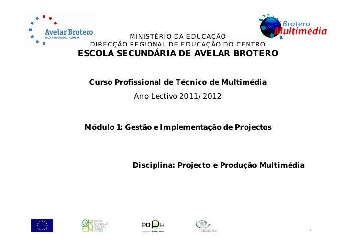 MINISTÉRIO DA EDUCAÇÃO  DIRECÇÃO REGIONAL DE EDUCAÇÃO DO CENTROESCOLA SECUNDÁRIA DE AVELAR BROTERO  Curso Profissional de ...
