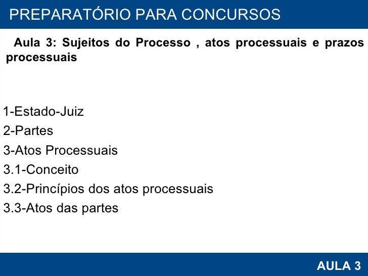 PROAB 2010 AULA 3 PREPARATÓRIO PARA CONCURSOS Aula 3: Sujeitos do Processo , atos processuais e prazos processuais 1-Estad...