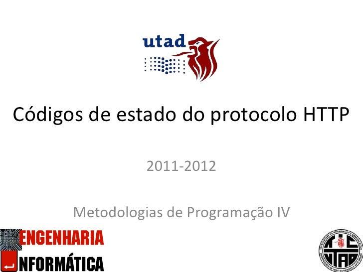 Códigos de estado do protocolo HTTP<br />2011-2012<br />Metodologias de Programação IV<br />