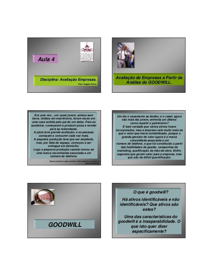 Aula 4      Disciplina: Avaliação Empresas.                                               Avaliação de Empresas a Partir d...