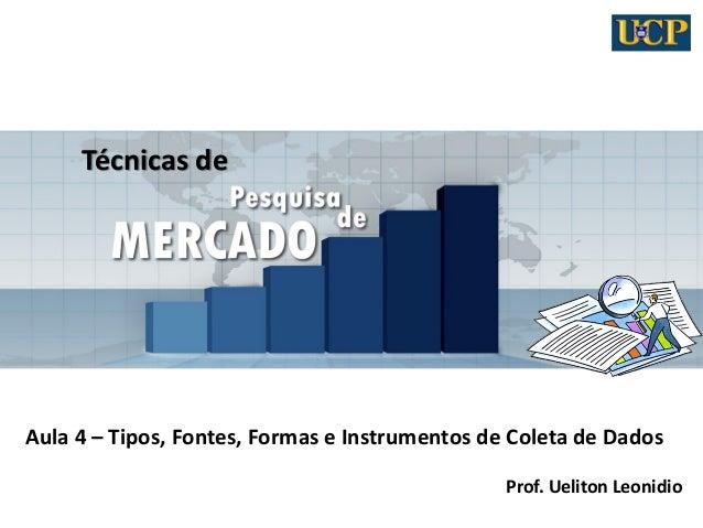 Técnicas de Aula 4 – Tipos, Fontes, Formas e Instrumentos de Coleta de Dados Prof. Ueliton Leonidio
