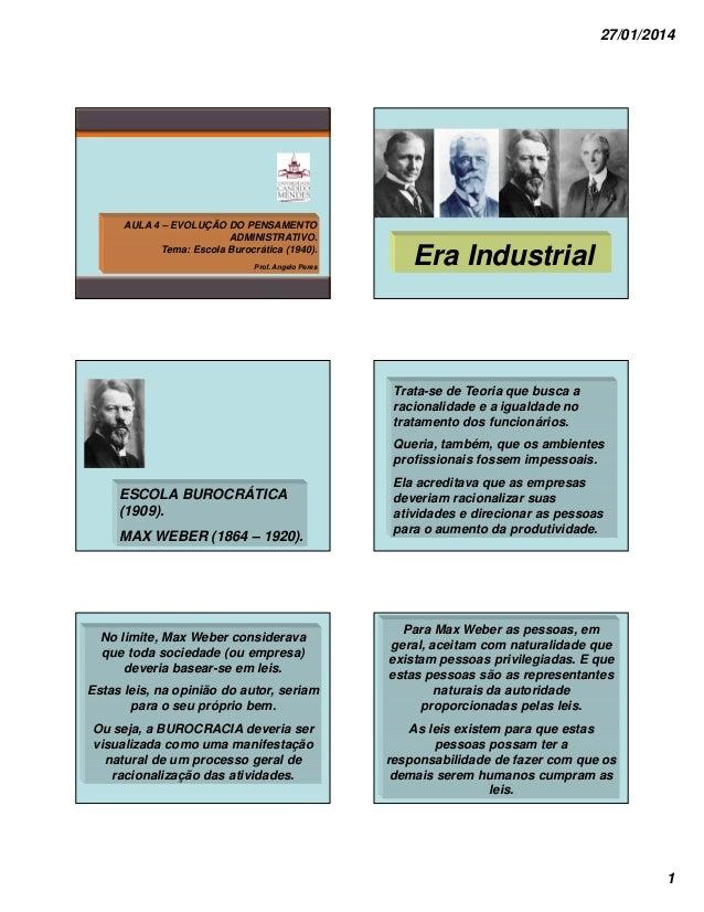 27/01/2014  AULA 4 – EVOLUÇÃO DO PENSAMENTO ADMINISTRATIVO. Tema: Escola Burocrática (1940). Prof. Angelo Peres  Era Indus...