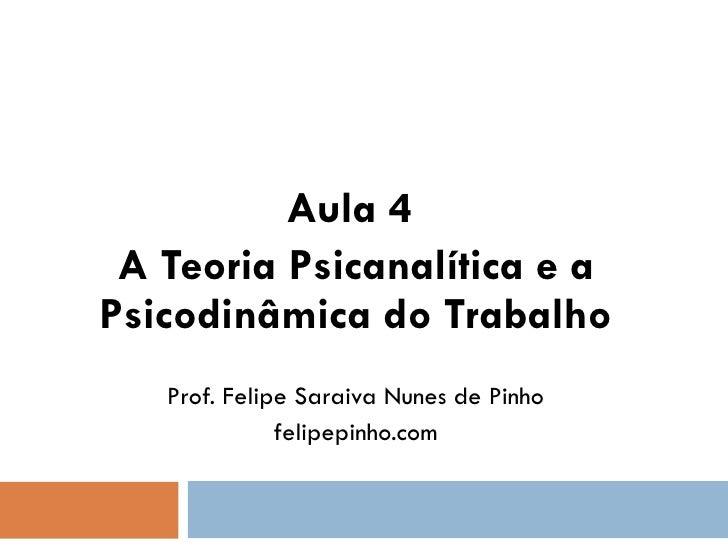 Aula 4 -   teoria psicanalítica e psicodinâmica do trabalho