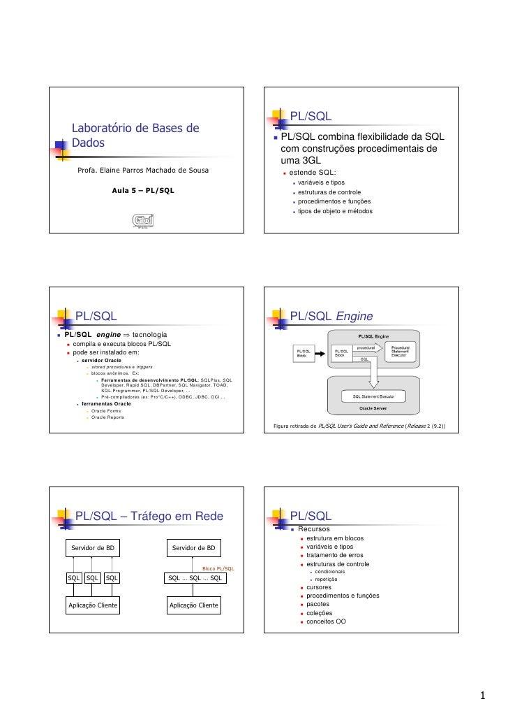 PL/SQL   Laboratório de Bases de                                                                         PL/SQL combina fl...