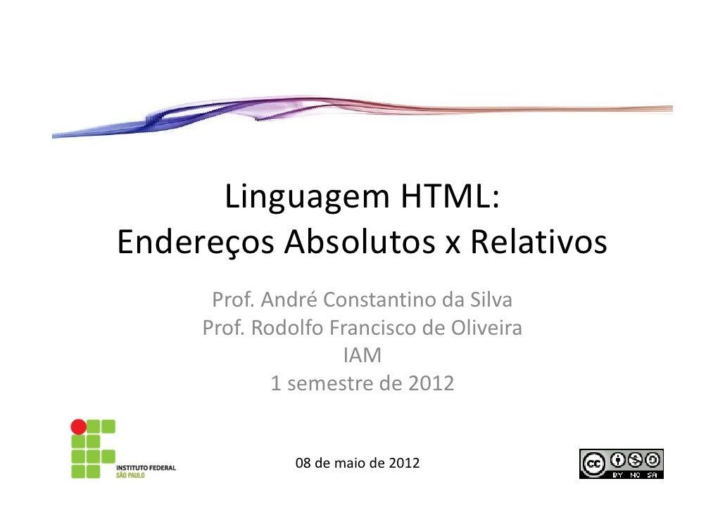 Aula 6 – linguagem HTML - Endereço absoluto e relativo