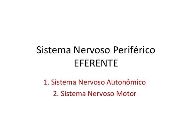 Sistema Nervoso Periférico EFERENTE 1. Sistema Nervoso Autonômico 2. Sistema Nervoso Motor