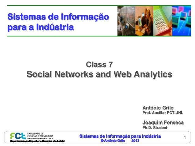 Sistemas de Informação para Indústria© António Grilo 2013Departamento de Engenharia Mecânica e Industrial1Class 7Social Ne...