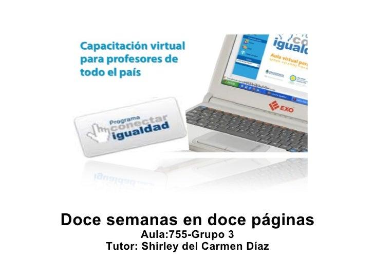 Doce semanas en doce páginas Aula:755-Grupo 3 Tutor: Shirley del Carmen Díaz