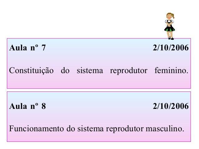 Aula nº 7 2/10/2006 Constituição do sistema reprodutor feminino. Aula nº 8 2/10/2006 Funcionamento do sistema reprodutor m...
