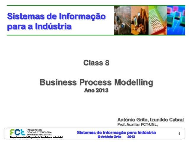 Sistemas de Informação para Indústria© António Grilo 2013Departamento de Engenharia Mecânica e Industrial1Class 8Business ...