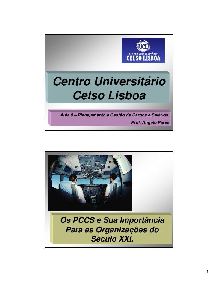 Centro Universitário    Celso Lisboa  Aula 9 – Planejamento e Gestão de Cargos e Salários.                                ...