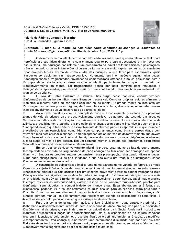 1Ciência & Saúde Coletiva / Versão ISSN 1413-8123 2Ciência & Saúde Coletiva, v. 15, n. 2, Rio de Janeiro, mar. 2010. 3 4Ma...