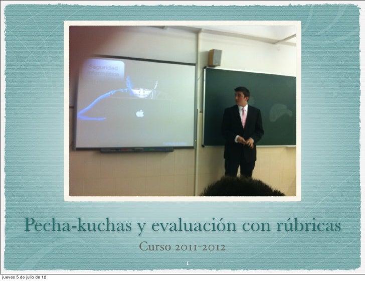 Pecha-kuchas y evaluación con rúbricas                          Curso 2011-2012                                  1jueves 5...