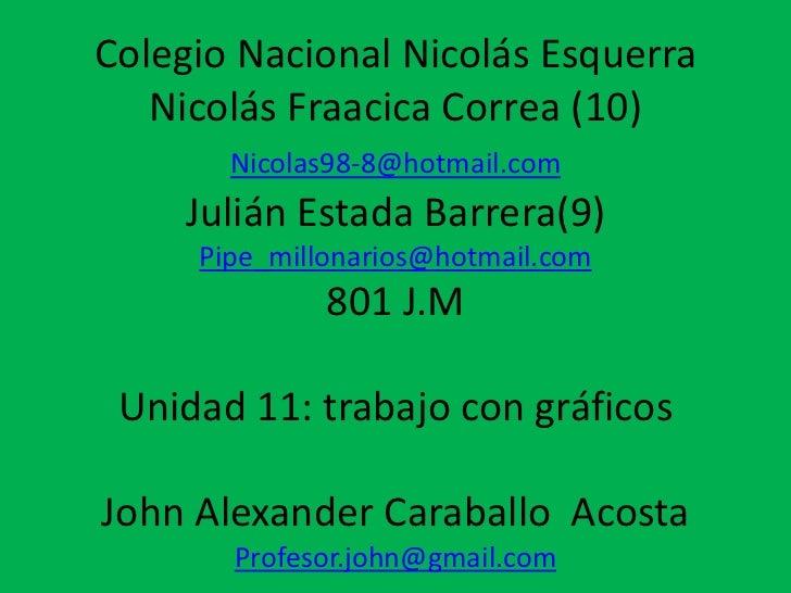 Colegio Nacional Nicolás Esquerra   Nicolás Fraacica Correa (10)       Nicolas98-8@hotmail.com     Julián Estada Barrera(9...