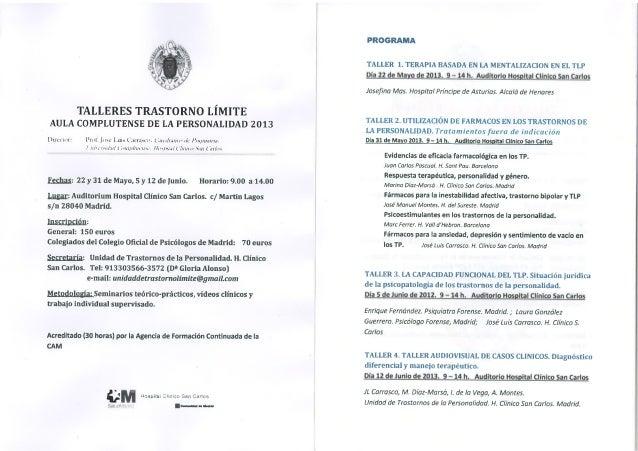 Programa Científico del Aula Complutense de la Personalidad 2013