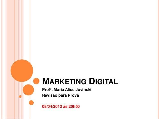 Aula de Revisão - Marketing Digital -  1º bimestre