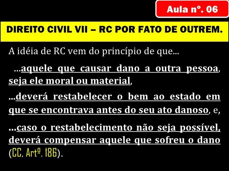 Aula nº. 06DIREITO CIVIL VII – RC POR FATO DE OUTREM.A idéia de RC vem do princípio de que... ...aquele que causar dano a ...
