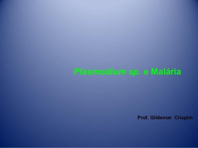 Plasmodium sp. e Malária  Prof. Gildemar Crispim