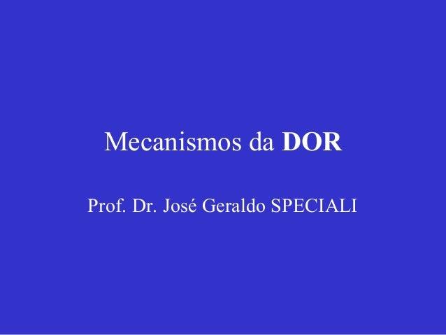 Mecanismos da DOR Prof. Dr. José Geraldo SPECIALI